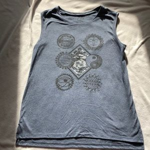 Blue Muscle Tee Yin Yang Egyptian Eye Sun Moon